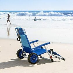 Macsports 2-in-1 Folding Lounge Chair Outdoor Beach Cart Sunbathing With Wheels