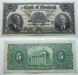 💜 1923 Bank Of Montreal 5 💜 Large Size 💜 Chartered 💜 Canada Banknote 💜