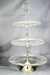 Shannon Crystal By Godinger Fire And Ice Crystal Three Tier Server Tray 21.5