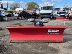 Western 8' Steel Straight Blade Ultra Mount Snow Plow Used Contrator Pro Plus