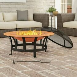 """30"""" Outdoor Deep Fire Pit- Round Large Copper Colored Steel Bowl - Us Only"""