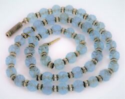 Antique Chinese Carved Blue Peking Glass Shou Bead Necklace Art Deco 24 Nice