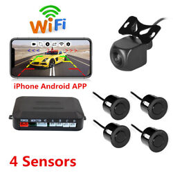 Wireless Wifi Car Rear View Backup Camera +4 Parking Sensors Kit For Android Ios