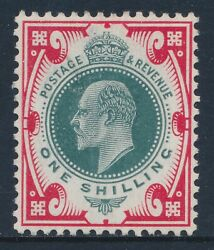 1902-1910 Gb 1/- Dull Green And Scarlet Fine Mint Mnh Sg259
