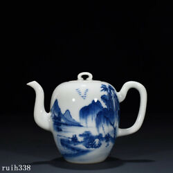 6 China The Qing Dynasty Blue And White Landscape Figure Pattern Teapot
