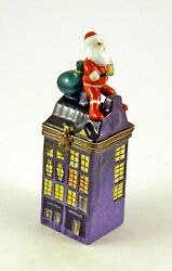New French Limoges Trinket Box Santa Claus In City On Building And Christmas Gifts