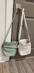 Coach Blue Green And White Leather Bucket Crossbody Purse $59.99