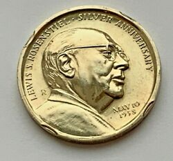 1958 STERLING SILVER LEWIS S. ROSENSTIEL SILVER ANNIVERSARY MEDAL COIN $59.99