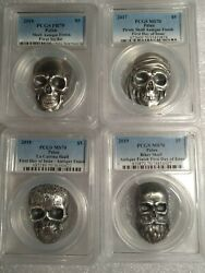 2016/17/18/19 Palau Skull 4 1oz Antiqued Silver Coin Set Pcgs Ms70 + Box/coa