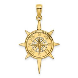 14k Yellow Gold Star Frame Nautical Compass Center Pendant Charm Necklace