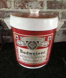 Vintage Budweiser Beer Thermo-serv West Bend Plastic Ice Bucket With Lid