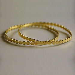 18 Kt Stamped Real Solid Yellow Gold Vintage Stacking Womenand039s Bangle Bracelet