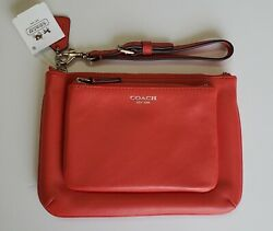 Nwt Coach Legacy Leather Double Pouch Wristlet/wallet 48043 Carnelianrare