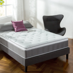 Zinus 12 Inch Support Plus Pocket Spring Hybrid Mattress With Euro Top / Extra F