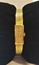 C1970 Vintage Solid 18k Ladies Crown Watch Dial Heno 17j Movement Mesh Gold Band