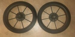 2 1920s Antique Goodyear Hard Rubber Tires And Rims 14 X 1.75