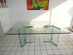 Exceptional 70and039s Modern Rosen Pace Dining Table W Glass And Chrome Pedestal