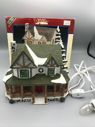 Vintage 1996 Lemax Village Collection - Log Cabin Colonial- W/ Box W/ Light