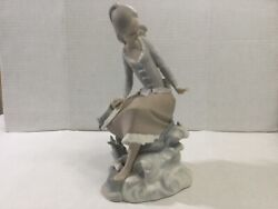 """Lladro Spain Girl Figurine Sitting By Water, Matte Finish,waves Fish Hat 9"""" Tall"""