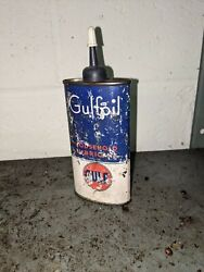 Vintage, Gulfoil Household Lubricant , 4oz.,tin Oiler Can Gulf Oil