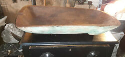 Large 32and039and039antique Wood Hand Carved Blue Paint Trencher Dough Bowl Primitive Farm
