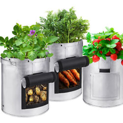 Non-woven Vegetables Planting Container Grow Bags Waterproof Garden Pot Silver