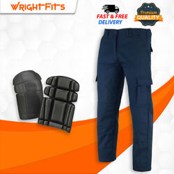Men Cargo Work Trousers Falcon Navy Blue Heavy Duty With Knee Pad - Wwfacn