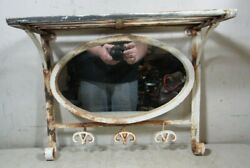 Vintage/antique Hand Wrought Welded Iron Hall Shelf Wall Oval Mirror W/hooks