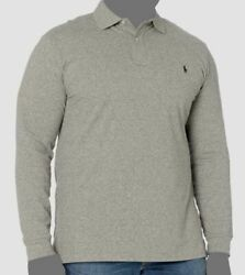 130 Polo Menand039s Gray Classic Fit Long-sleeve Shirt Big And Tall Xlt