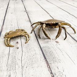 Vtg Lot Solid Brass Crabs Hanging Movable Arms Ashtray Trinket Hinged Figurine