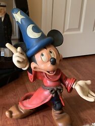"""Walt Disney Mickey Mouse Fantasia 21"""" Figurine Statue Extremely Rare Signed"""