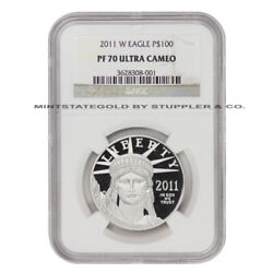 2011-w 100 Platinum Eagle Ngc Pf70ucam Ultra Cameo Proof 1 Ounce Coin .9995