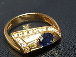 Beautiful Secondhand 18ct Yellow Gold Diamond Blue Saphire Ring Size R
