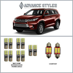 Fit 11-19 Highlander Interior And Trunk Led Canbus Light Conversion 12 Bulbs