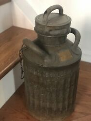 Antique 5 Gallon Oil Can Wadhams Ellisco Embossed Letters Gas Service Station