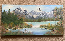 Vintage Canadian Mountain And River Scene With Canadian Geese Signed L Balli