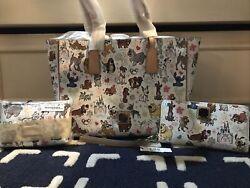 New Disney Dooney And Bourke Dogs Sketch 3 Piece Lot Tote, Wallet, Cosmetic Purse