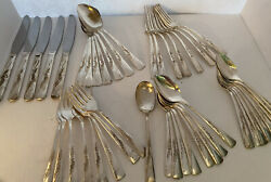 Vintage Revelation Blossom Lovely Deluxe Silverplate Flatware 45 Pieces