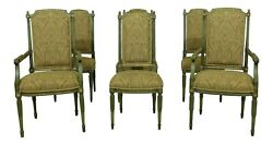 Lf51498ec Set Of 6 French Louis Xvi Style Paint Decorated Dining Chairs
