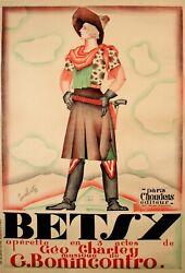 Betsy Operetta Vintage Poster By Bastia 1927 Original French Featuring Cowgirl