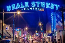 Beale Street Blue Memphis Tennessee City Photography Metal Print Wall Art Pictur