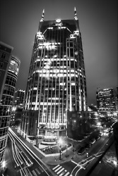 Nashville Tennessee Skyline Downtown Atandt Tower Photography Black And White Land