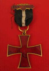 1938 Bay State Ma Massachusetts Red Enamel Iron Cross Medal 38 With Ribbon Rare