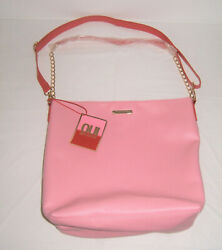NWT JUICY COUTURE PINK BAG GOLD CHAIN Tote Shoulder Purse Shopper Faux Leather $24.99