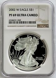 2002 W American Silver Eagle Proof 1 Dollar Coin Ngc Pf 69 Uc