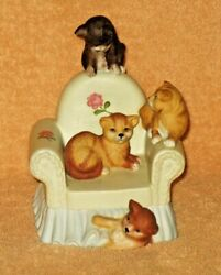 Vintage Cats Sitting On Chair Music Box By Mann