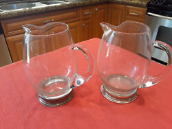 Two 2 Vintage Sterling And Crystal 6 1/2 Pitchers Great For Entertaining