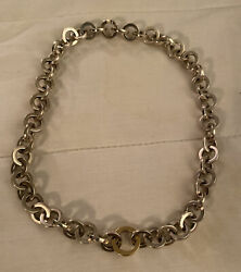 Necklace Sterling Silver With 18k Gold Interlocking Circles 2001 Rare