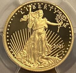 2021-w 1 Of 2526 10 1/4oz Proof American Gold Eagle Type 1 Pcgs Pr69 Dcam