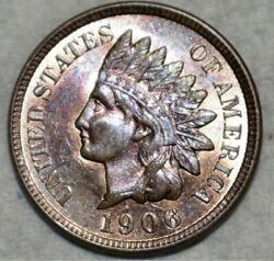 Make-a- 179 Offer= 1906 Indian Head Penny Cool Tone Full Liberty4 Dias 3q